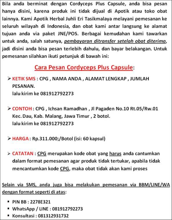 Pemesanan Cordyceps Plus Capsule
